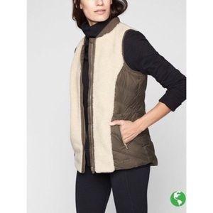 Athleta shearling & olive green vest NWOT size M